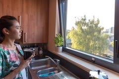 聪明的亚裔妇女在厨房里 库存照片