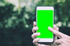 聪明的人藏品的手和有色度钥匙的接触流动巧妙的电话绿化屏幕 免版税图库摄影