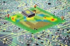 聪明的农业未来派概念,人工智能wo 免版税库存图片