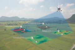 聪明的农业概念,农夫在寄生虫的用途红外线与hig 图库摄影