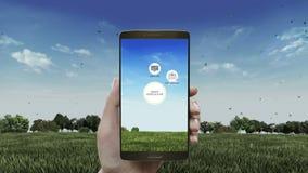 聪明的农业聪明种田,在智能手机,机动性的信息图表象,在看法附近 事互联网  股票视频
