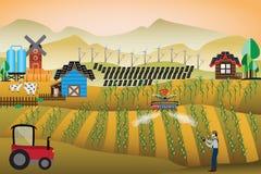 聪明的农厂概念,农夫使用了寄生虫喷洒的杀虫剂 皇族释放例证