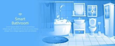 聪明的卫生间设计横幅 内部家IOT广告 向量例证