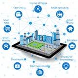 聪明的城市事概念和互联网  向量例证