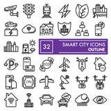 聪明的城市分界线象集合,通信标志汇集,传染媒介剪影,商标例证,线性都市的标志 向量例证