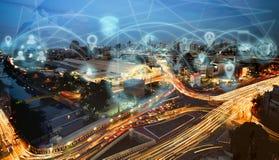 聪明的城市和互联网 库存图片