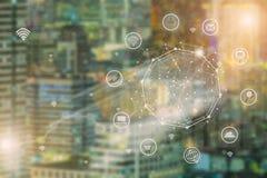 聪明的城市和无线通讯网络,抽象图象vi 免版税库存图片