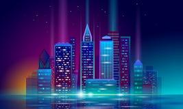 聪明的城市3D氖发光的都市风景 聪明的大厦自动化夜未来派企业概念 在网上网 皇族释放例证
