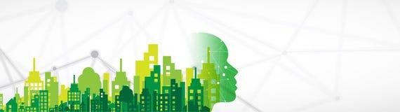 聪明的家庭企业背景的技术未来派概念 库存例证