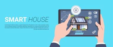 聪明的家庭控制技术概念用拿着在模板背景的手片剂设备 库存例证