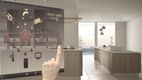 聪明的家庭控制概念,控制从流动应用程序的手数字接口 显示现代白色的被弄脏的背景和木 向量例证