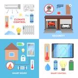 聪明的家庭概念集合 汇集的infographic 向量例证