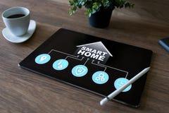 聪明的家庭概念,在设备屏幕上的控制板软件 库存照片