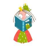 聪明的小的Reading公主童话与 库存图片