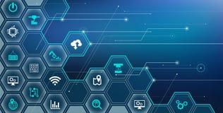 聪明的工厂概念:数字化,产业4 0,企业IoT -例证 向量例证