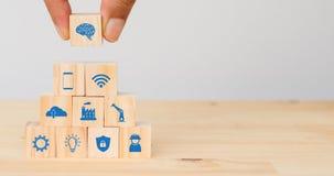 聪明的工厂,产业4 0个未来派技术趋向概念,手人投入象连接,象包括wifi, ai, artif 免版税库存照片