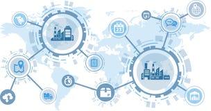 聪明的工厂/数字化/合作/国际化概念 向量例证