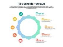 聪明的平的六角infographic模板和powerpoint 皇族释放例证