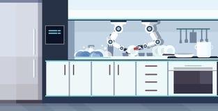 聪明的得心应手的现代厨师机器人洗碗机器人辅助创新技术人工智能的概念 库存例证