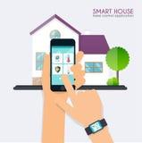 聪明的房子 家庭控制应用概念 smar的手对负 库存照片