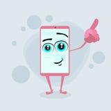 聪明的手机桃红色漫画人物点 免版税图库摄影