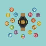 聪明的手表传染媒介例证 流动小配件 图库摄影