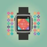聪明的手表传染媒介例证 流动小配件 免版税库存照片