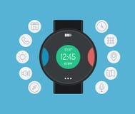 聪明的手表设计平的例证概念 库存图片