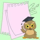 聪明的猫头鹰逗人喜爱的字符 与空间的卡片文本的 库存照片
