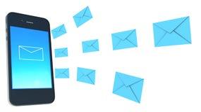 聪明的电话和信封- sms和邮件概念 库存图片