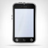 黑聪明的电话正面图空的显示 免版税库存照片