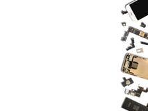 聪明的电话组分孤立平的位置  免版税库存图片