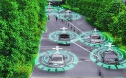 聪明的自已驾驶的,人工智能系统的AI,驾驶控制的概念未来派聪明的汽车天才和 免版税库存图片