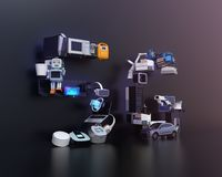 聪明的装置、寄生虫、自治的车辆和机器人在` 5G `文本安排了 库存照片
