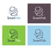 聪明的鱼商标模板集合 免版税库存照片