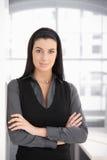 聪明的黑暗的妇女纵向  免版税库存图片