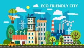 聪明的绿色城市的现代平的设计观念 Eco友好的市,一代和保存绿色能量 向量 库存照片