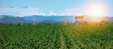 聪明种田与农业产业4 0个概念,农夫用途拖拉机在犁的,耙松农场,播种Intercultivati 免版税库存图片