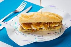 肉三明治用甜葱和山羊乳干酪 库存照片