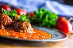 肉丸 意大利和地中海烹调 与s的肉丸 图库摄影