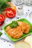 肉利益炖煮的食物用西红柿酱 免版税图库摄影