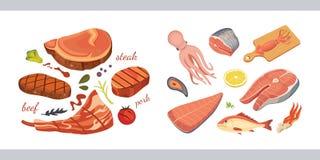 肉制品的不同的类型被设置的 在白色背景的被隔绝的集合食物 在动画片样式的菜单设计 库存照片