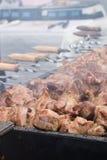 肉和土豆在格栅 库存照片