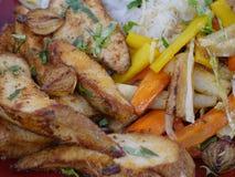 肉和蔬菜 免版税库存照片