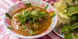 肉咖喱 辣地方街道食物在郊区 免版税库存图片