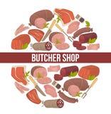 海报电视节目预告美食用肉和肉店库存例证你v海报香肠为图片