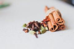 肉桂条和香料 免版税库存图片