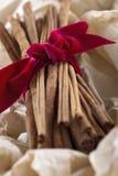 肉桂条栓与在被包裹的纸的一条红色丝带 免版税图库摄影
