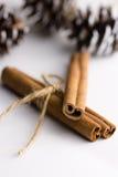 肉桂条栓与麻线和杉木锥体在背景中,在白色桌、假日大气圣诞节和新年上 免版税库存照片
