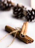 肉桂条栓与麻线和smal杉木锥体在背景中,在白色桌、假日大气圣诞节和新年上 免版税库存图片
